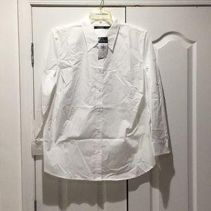 Ralph Lauren white cotton spandex blouse NWT 2x 3x